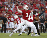 Stanford quarterback K.J. Costello (3) throws a pass against San Diego State during the first half of an NCAA college football game Friday, Aug. 31, 2018, in Stanford, Calif. (AP Photo/Tony Avelar)