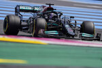 Mercedes driver Lewis Hamilton of Britain steers his car during the first free practice for the French Formula One Grand Prix at the Paul Ricard racetrack in Le Castellet, southern France, Friday, June 18, 2021. The French Grand Prix will be held on Sunday. (AP Photo/Francois Mori)