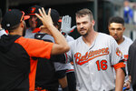 FILE - In this Monday, Sept. 16, 2019, file photo, Baltimore Orioles' Trey Mancini (16) celebrates his solo home run against the Detroit Tigers in the sixth inning of a baseball game in Detroit. (AP Photo/Paul Sancya, File)