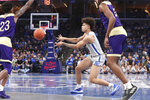 Memphis' Lester Quinones (11) passes in the second half of an NCAA college basketball game against Alcorn State Saturday, Nov. 16, 2019, in Memphis, Tenn. (AP Photo/Karen Pulfer Focht)
