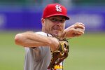 CORRECTS TO STARTING PITCHER NOT RELIEF PITCHER AS ORIGINALLY SENT - St. Louis Cardinals starting pitcher Wade LeBlanc delivers during the first inning of a baseball game against the Pittsburgh Pirates in Pittsburgh, Thursday, Aug. 12, 2021. (AP Photo/Gene J. Puskar)
