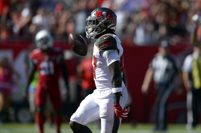 Tampa Bay Buccaneers running back Ronald Jones II (27) celebrates his touchdown run against the Arizona Cardinals during the first half of an NFL football game Sunday, Nov. 10, 2019, in Tampa, Fla. (AP Photo/Jason Behnken)