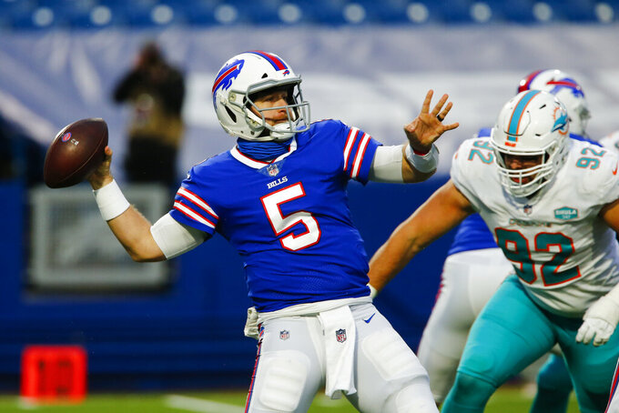 Buffalo Bills quarterback Matt Barkley (5) passes in the second half of an NFL football game against the Miami Dolphins, Sunday, Jan. 3, 2021, in Orchard Park, N.Y. (AP Photo/John Munson)