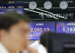 A currency trader watches the computer monitors near the screens showing the Korea Composite Stock Price Index (KOSPI), center, and the foreign exchange rate between U.S. dollar and South Korean won at the foreign exchange dealing room in Seoul, South Korea, Monday, Sept. 16, 2019. Asian stock markets were mixed Monday after crude prices surged following an attack on Saudi Arabia's biggest oil processing facility. (AP Photo/Lee Jin-man)