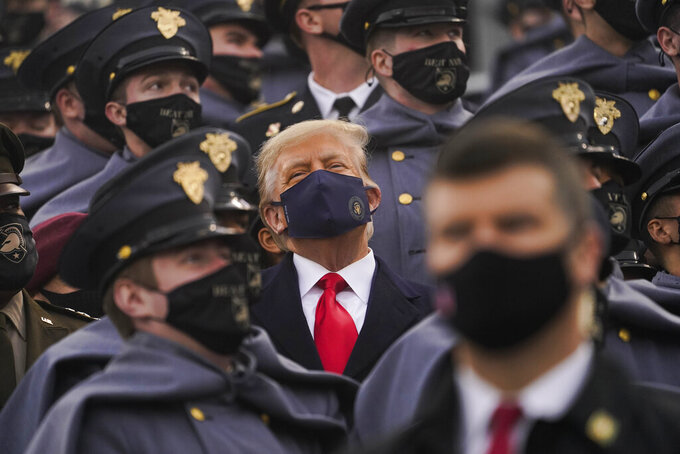 President Donald Trump watches the 121st Army-Navy Football Game in Michie Stadium at the United States Military Academy, Saturday, Dec. 12, 2020, in West Point, N.Y. (AP Photo/Andrew Harnik)