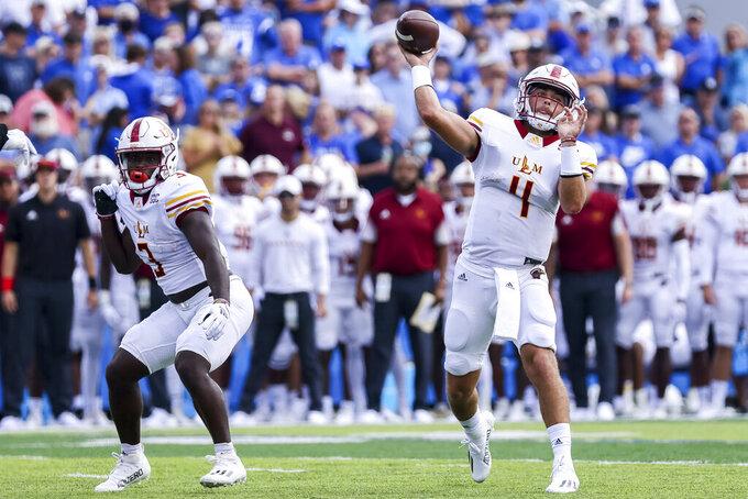 Louisiana-Monroe quarterback Rhett Rodriguez (4) throws a passduring the first half of an NCAA college football game against Kentucky in Lexington, Ky., Saturday, Sept. 4, 2021. (AP Photo/Michael Clubb)