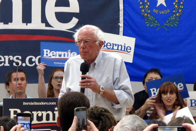 FILE - In this Sept. 13, 2019, file photo Democratic presidential candidate Sen. Bernie Sanders, I-Vt., speaks at a town hall meeting at the Carson City Convention Center in Carson City, Nev. (AP Photo/Scott Sonner, File)