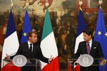 French President Emmanuel Macron, left, and Italian Premier Giuseppe Conte meet the media at Chigi Palace Premier office in Rome, Wednesday, Sept. 18, 2019. How Europe can better deal with migrant policies is slated to be a key matter for talks as French President Emmanuel Macron and Italy's Premier Giuseppe Conte meet in Rome Wednesday evening. (AP Photo/Domenico Stinellis)