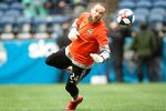 Seattle Sounders goalkeeper Stefan Frei (24) warms up before the start of an MLS playoff soccer game between the Seattle Sounders and FC Dallas at CenturyLink Field, Saturday, Oct. 19, 2019 in Seattle. (Andy Bao/The Seattle Times via AP)