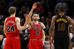 Chicago Bulls guard Zach LaVine (8) celebrates after scoring a basket during the second half of the team' NBA basketball game against the Cleveland Cavaliers in Chicago, Saturday, Jan. 18, 2020. (AP Photo/Nam Y. Huh)