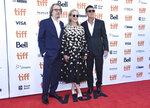 Gary Oldman, from left, Meryl Streep and Antonio Banderas attend a premiere for