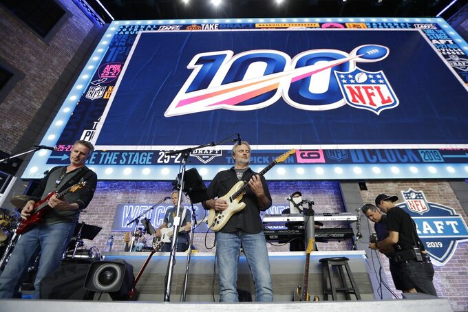 The band Sixwire rehearses on the NFL stage ahead of the first-round NFL Draft, Wednesday, April 24, 2019, in Nashville, Tenn. The football draft is scheduled to run Thursday through Saturday. (AP Photo/Mark Humphrey)