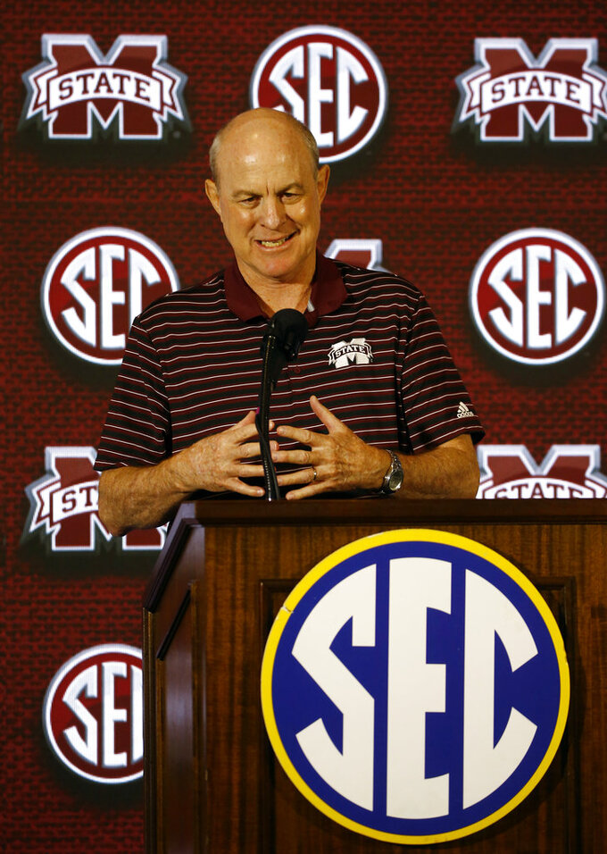 Mississippi State coach Ben Howland speaks to media during the SEC men's NCAA college basketball media day, Wednesday, Oct. 17, 2018, in Birmingham, Ala. (AP Photo/Butch Dill)