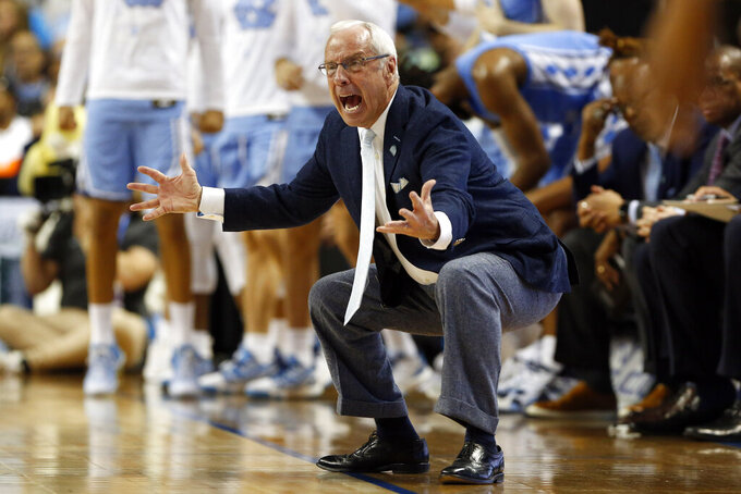 North Carolina head coach Roy Williams reacts during the second half of an NCAA college basketball game against Virginia Tech at the Atlantic Coast Conference tournament in Greensboro, N.C., Tuesday, March 10, 2020. (AP Photo/Ben McKeown)