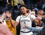 Georgia Tech forward James Banks III (1) celebrates with fans after defeating Wake Forest 92-79 in an NCAA college basketball game, Saturday, Jan. 5, 2019, in Atlanta. (AP Photo/John Bazemore)