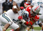 FILE - In this Sept. 22, 2018, file photo, Ohio State defensive end Chase Young, right, sacks Tulane quarterback Jonathan Banks during the first half of an NCAA college football game, in Columbus, Ohio.n Indiana plays at Ohio State on Saturday, Oct. 6. (AP Photo/Jay LaPrete, File)