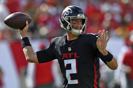 Atlanta Falcons quarterback Matt Ryan (2) throws a pass against the Tampa Bay Buccaneers during the first half of an NFL football game Sunday, Sept. 19, 2021, in Tampa, Fla. (AP Photo/Jason Behnken)