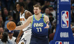 Dallas Mavericks forward Luka Doncic (77) reacts to a call during the second half of the team's NBA basketball game against the Denver Nuggets on Wednesday, Jan. 8, 2020, in Dallas. (AP Photo/Brandon Wade)