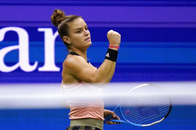 Maria Sakkari, of Greece, reacts after winning the first set against Karolina Pliskova, of the Czech Republic, during the quarterfinals of the U.S. Open tennis tournament Wednesday, Sept. 8, 2021, in New York. (AP Photo/Frank Franklin II)