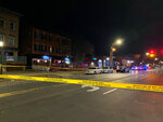 In this photo provide by Channel 3 Eyewitness News (WFSB-TV), a view of the scene of a shooting at the Majestic Lounge, in Hartford, Connecticut, Sunday, Feb. 16, 2020. Multiple people were shot at a Connecticut nightclub, leaving one person dead, police said early Sunday. Preliminary information indicated four others were wounded, Hartford police Lt. Paul Cicero told The Associated Press. (Ayah Galal, Channel 3 Eyewitness News (WFSB-TV) via AP)