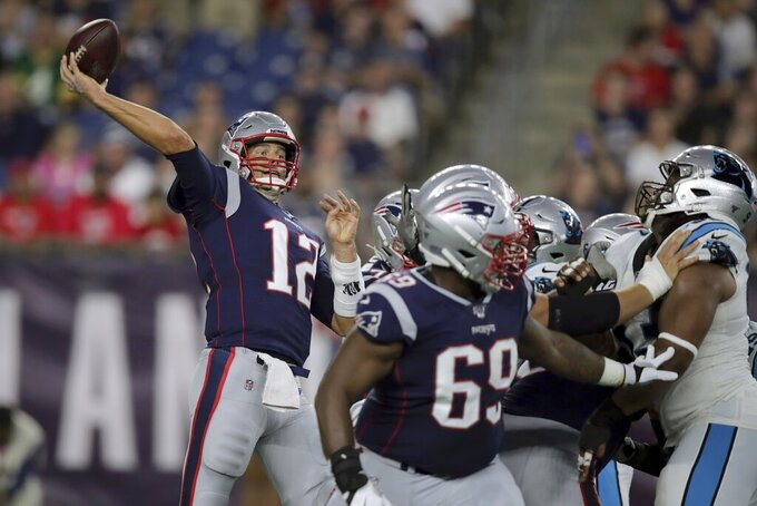 New England Patriots quarterback Tom Brady passes against the Carolina Panthers in the first quarter of an NFL preseason football game, Thursday, Aug. 22, 2019, in Foxborough, Mass. (AP Photo/Charles Krupa)