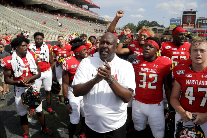 Maryland rolls past Howard 79-0 in Locksley, Jackson debuts
