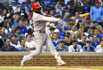 St. Louis Cardinals' Marcell Ozuna breaks his bat during the sixth inning of a baseball game against the Chicago Cubs, Sunday, June 9, 2019, in Chicago. (AP Photo/Matt Marton)