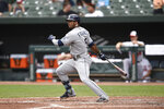 Tampa Bay Rays' Wander Franco follows through on a single against the Baltimore Orioles in the sixth inning of baseball game, Sunday, Aug. 29, 2021, in Baltimore. (AP Photo/Gail Burton)