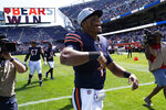 Chicago Bears quarterback Justin Fields (1) celebrates a victory over the Miami Dolphins in an NFL preseason football game in Chicago, Saturday, Aug. 14, 2021. (AP Photo/David Banks)