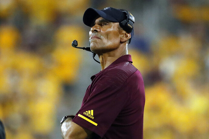 Arizona State coach Herm Edwards watches during the second half of the team's NCAA college football game against Oregon State on Saturday, Sept. 29, 2018, in Tempe, Ariz.  After posting a winning record during his first season, securing a trip to a bowl game, and a monumental comeback against Arizona State's biggest rival, the expectations, at least outside Tempe, were exceeded.  (AP Photo/Matt York)