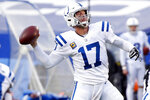 Indianapolis Colts' Philip Rivers (17) throws a pass to Jack Doyle for a touchdown during the second half of an NFL wild-card playoff football game against the Buffalo Bills Saturday, Jan. 9, 2021, in Orchard Park, N.Y. (AP Photo/Jeffrey T. Barnes)