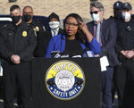 In this Wednesday, March 3, 2021, photo Alderwoman Chantia Lewis speaks during a press conference regarding the Milwaukee Police Department's new initiative to combat reckless driving, held at Midtown Center on West Capitol Drive in Milwaukee. Milwaukee City Councilwoman Lewis announced Wednesday, July 21, that she's running for the U.S. Senate, becoming the ninth Democrat to enter the race for the seat currently held by Republican Sen. Ron Johnson. (Mike De Sisti/Milwaukee Journal-Sentinel via AP)