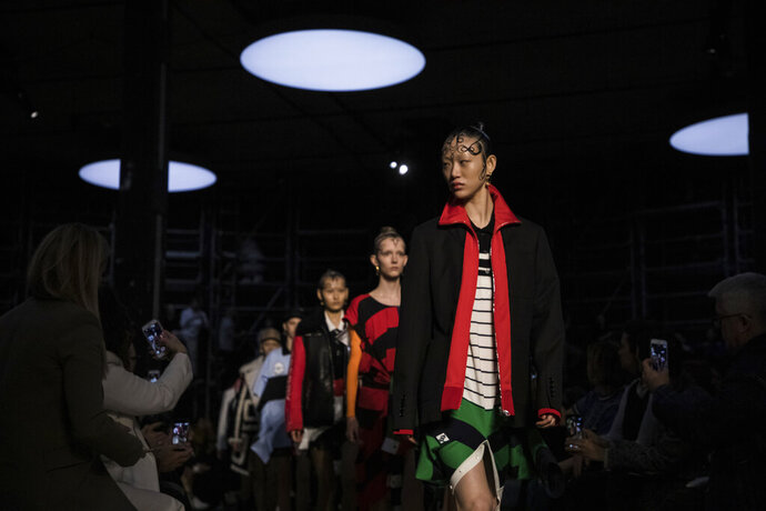 Model wear creations by Burberry at the Autumn/Winter 2019 fashion week runway show in London, Sunday, Feb. 17, 2019. (Photo by Vianney Le Caer/Invision/AP)