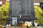 Photo dated Monday Oct. 14, 2019 showing the Bloody Sunday memorial in Londonderry, Northern Ireland with the names of of the victims. Fears about a return to the violence that killed more than 3,500 people over three decades have made Northern Ireland the biggest hurdle for U.K. and EU officials who are trying to hammer out a Brexit divorce deal. (AP Photo/Peter Morrison)