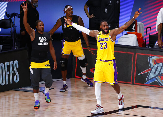 Los Angeles Lakers' LeBron James (23) reacts during the third quarter of Game 2 of an NBA basketball first-round playoff series against the Portland Trail Blazers, Thursday, Aug. 20, 2020, in Lake Buena Vista, Fla. (Kevin C. Cox/Pool Photo via AP)