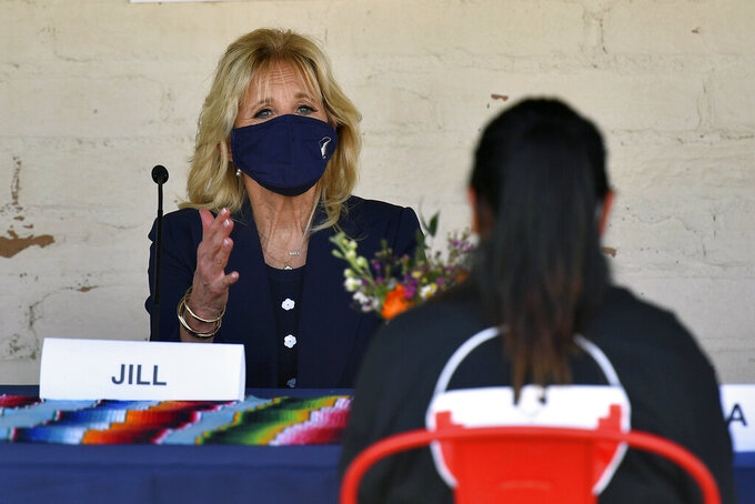 First lady Jill Biden speaks to farm workers at The Forty Acres, the first headquarters of the United Farm Workers labor union, in Delano, Calif., Wednesday, March 31, 2021. (Mandel Ngan/Pool via AP)