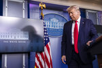 President Donald Trump turns to depart after speaking during a briefing with reporters in the James Brady Press Briefing Room of the White House, Monday, Aug. 3, 2020, in Washington.(AP Photo/Alex Brandon)