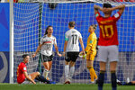 Germany's Sara Daebritz, top left, celebrates after scoring the opening goal during the Women's World Cup Group B soccer match between Spain and Germany at Stade du Hainau in Valenciennes, France, Wednesday, June 12, 2019. (AP Photo/Michel Spingler)