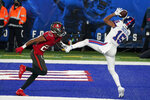 New York Giants' Golden Tate, right, catches a touchdown in front of Tampa Bay Buccaneers' Sean Murphy-Bunting during the second half of an NFL football game, Monday, Nov. 2, 2020, in East Rutherford, N.J. (AP Photo/Corey Sipkin)