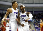 TCU guard Desmond Bane (1) and forward JD Miller (15) celebrate a basket with a foul call against Iowa State by Miller in the final seconds of an NCAA college basketball game in Fort Worth, Texas, Saturday, Feb. 23, 2019. TCU won 75-72. (AP Photo/Tony Gutierrez)