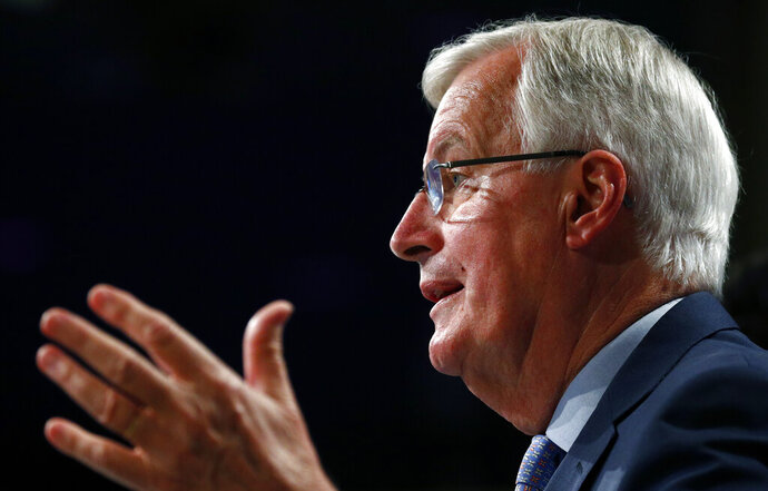 European Union's chief Brexit negotiator Michel Barnier speaks during a media conference, following the third round of Brexit talks between the EU and Britain, at EU headquarters in Brussels, Friday, May 15, 2020. Talks between the European Union and the United Kingdom on their future relationship in the wake of Brexit have ground to a near-standstill despite the urgency for progress before a summit next month.(Francois Lenoir, Pool Photo via AP)