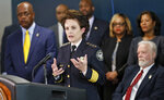 Atlanta Police Chief Erika Shields speaks after Atlanta Mayor Keisha Lance Bottoms announced Thursday, March 21, 2019  that officials will take a fresh look at the Atlanta child murders, a string of murders from 1979 to 1981 that terrorized the city's black community. Atlanta Police Chief Erika Shields, Bottoms said the intention is use technological advances to re-test evidence and see if any answers come. (Bob Andres/Atlanta Journal-Constitution via AP)