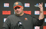 Cleveland Browns coach Freddie Kitchens answers questions during a news conference after the team's NFL football game against the Pittsburgh Steelers, early Friday, Nov. 15, 2019, in Cleveland. The Browns won 21-7. (AP Photo/David Richard)