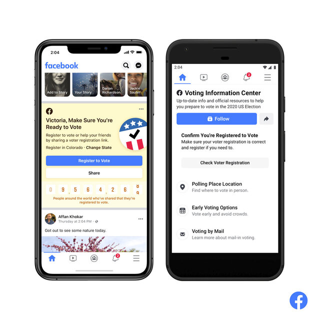 This image provided by Facebook shows screens of Voting Information Center. Facebook is launching a widespread effort to boost U.S. voter turnout and show authoritative information about voting, even as it doubles down on its stance to let politicians like President Donald Trump post misinformation about voting. (Facebook via AP)
