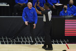 Dallas Mavericks head coach Rick Carlisle disputes a call during the first quarter of Game 7 of an NBA basketball first-round playoff series against the Los Angeles Clippers Sunday, June 6, 2021, in Los Angeles, Calif. (AP Photo/Ashley Landis)