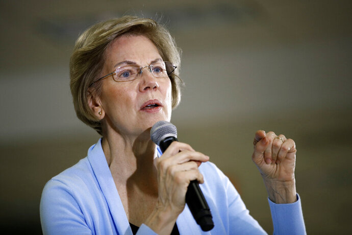 Democratic presidential candidate Sen. Elizabeth Warren, D-Mass., speaks during a campaign event, Monday, Jan. 20, 2020, in Grimes, Iowa. (AP Photo/Patrick Semansky)