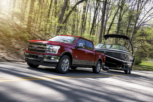 This undated photo provided by Ford shows the 2019 Ford F-150, which is available with a 3.0-liter diesel V6 that increases towing capacity and fuel economy. (Ford Motor Co. via AP)