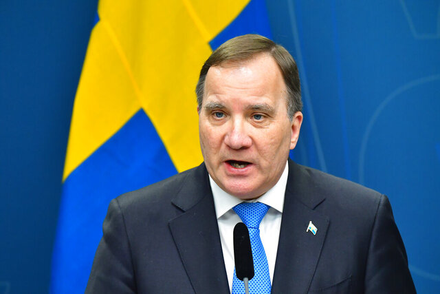 Sweden's Prime Minister Stefan Lofven speaks during a news conference on the outbreak of coronavirus, at the government headquarters in Stockholm, Sweden, Tuesday, March 31, 2020. (Jonas Ekstromer/TT News Agency via AP)