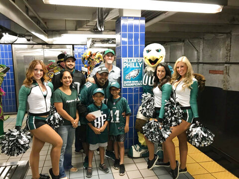 Eagles Fan Subway Pole Football