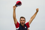 Team USA's Scottie Scheffler reacts on the 15th hole during a Ryder Cup singles match at the Whistling Straits Golf Course Sunday, Sept. 26, 2021, in Sheboygan, Wis. (AP Photo/Charlie Neibergall)